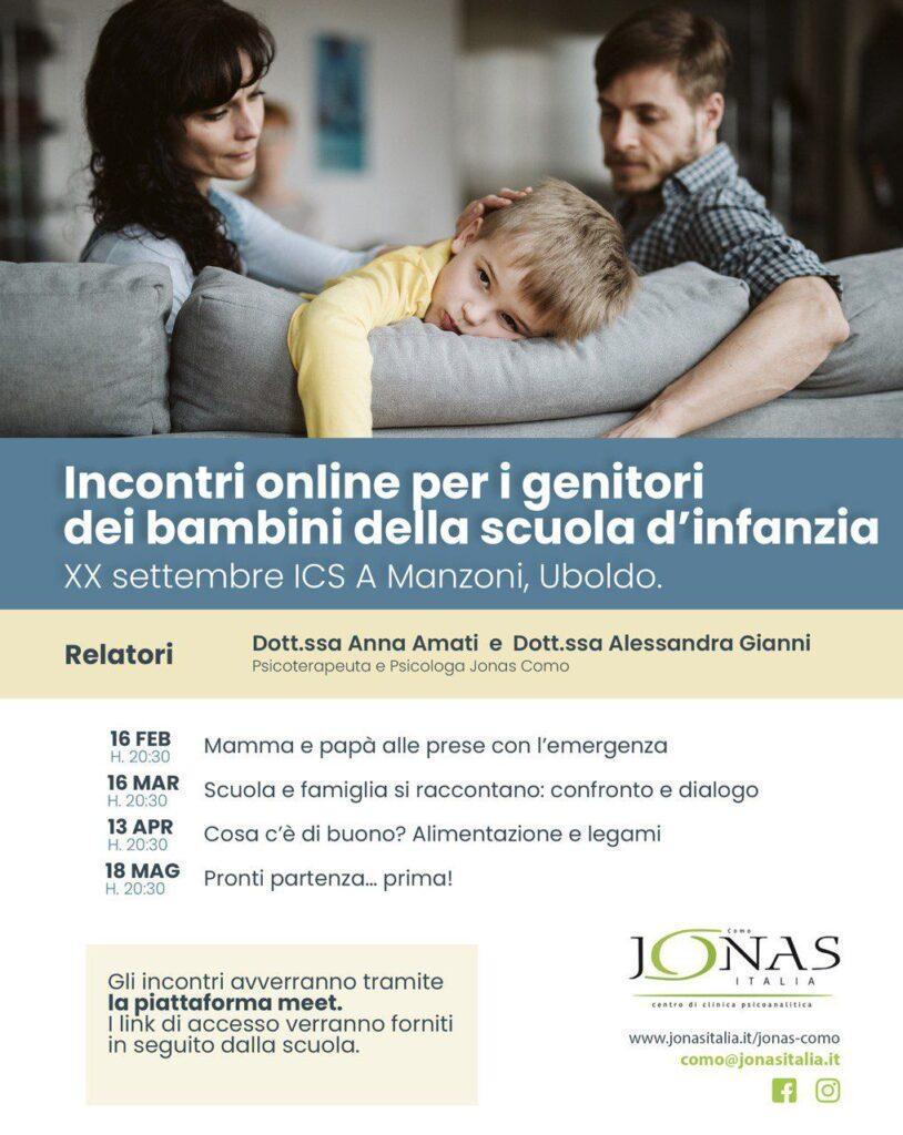 Incontri online per i genitori dei bambini della scuola d'infanzia XX Setembre ICS A Manzoni